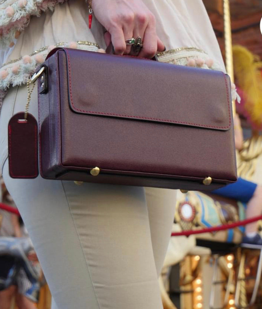 Classic Briefcase BURGUNDY with red stiches, Genuine leather with locks