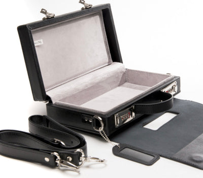 Elegant Briefcase BLACK, Genuine leather with locks