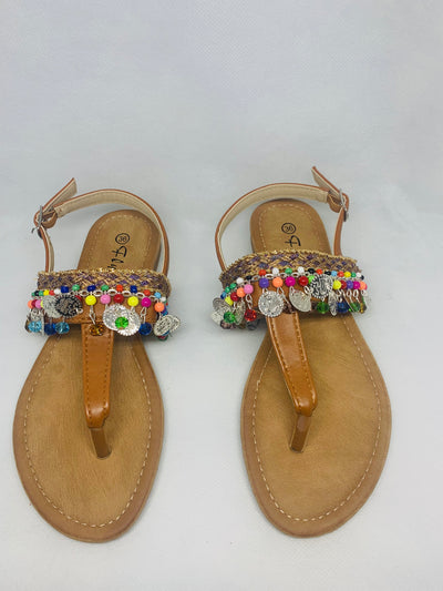 Shoes sandals with coins and pom pom
