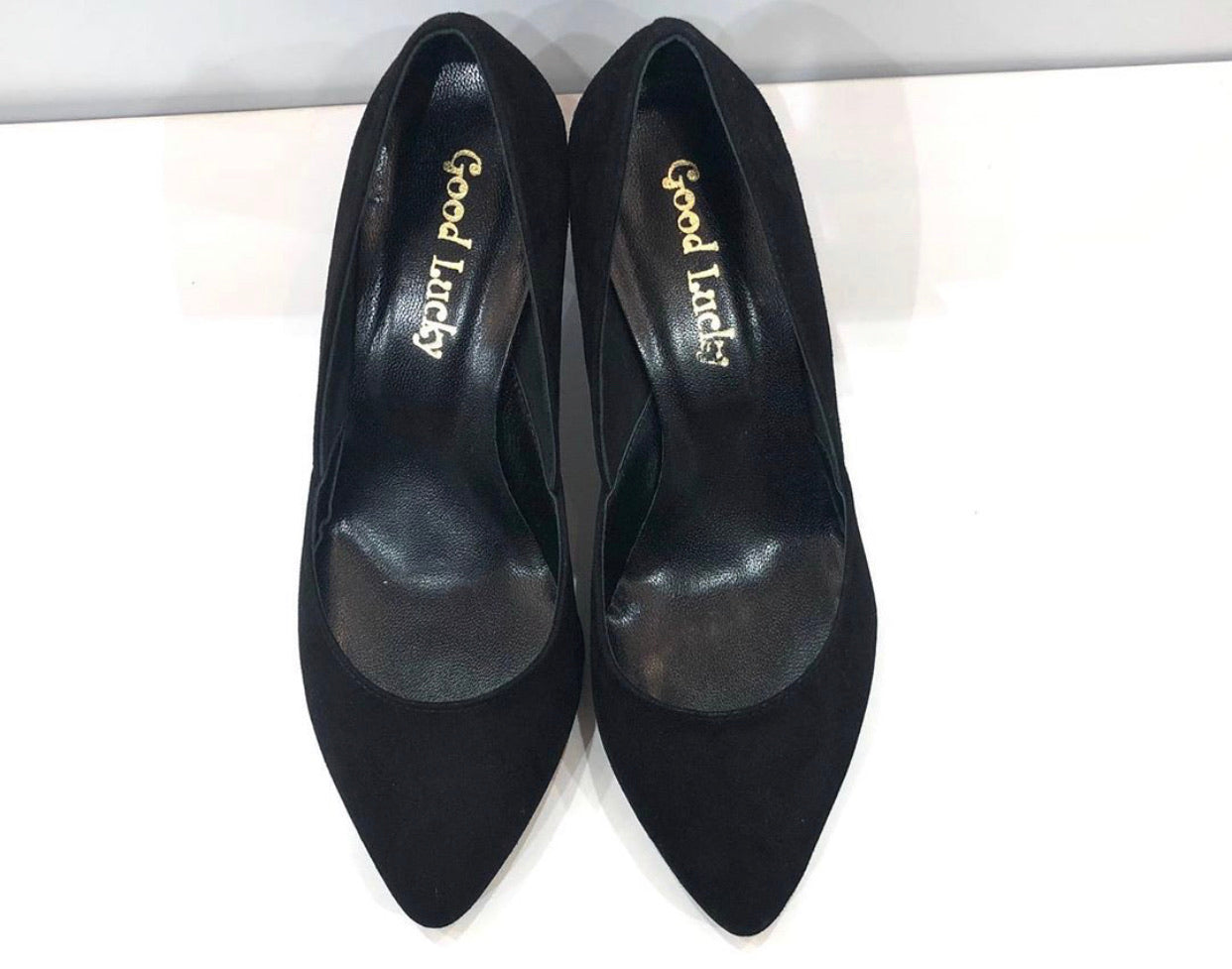 Shoes black velvet good lucky