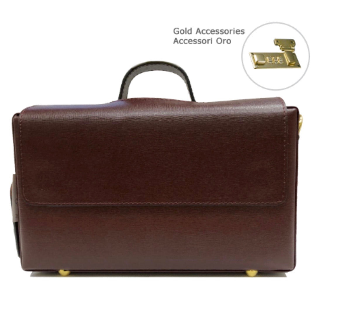 Classic Briefcase BURGUNDY, Genuine leather with locks