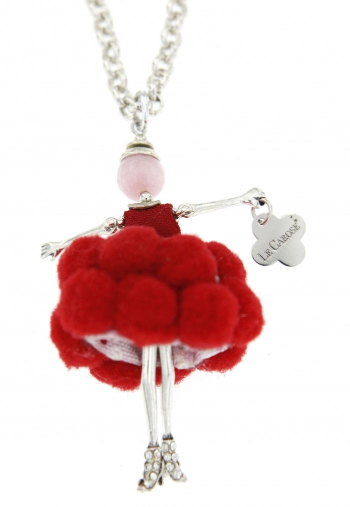 Le Carose little dolls pendant with long necklaces Le Carosine handmde in Italy