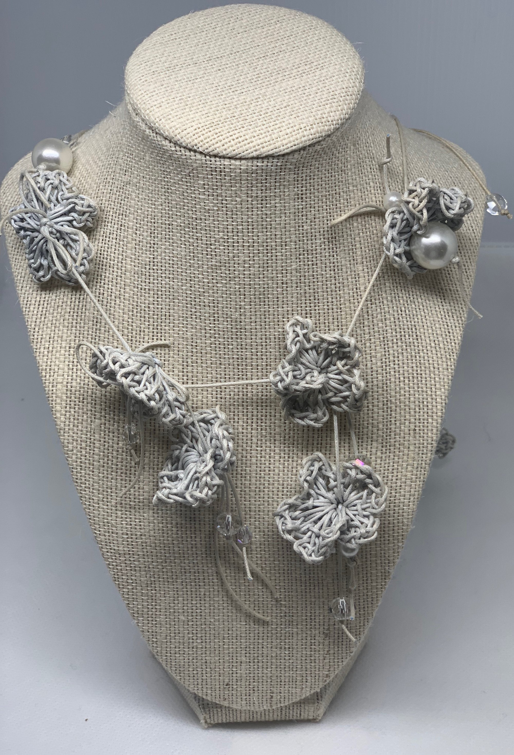 Corinna necklaces flower cotton handmade color white grey