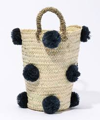 Tall Straw basket with pom pom