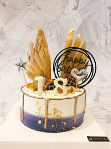 Golden Feather Birthday Cake