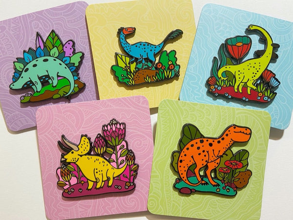 Dino Pins and Stickers Bundle