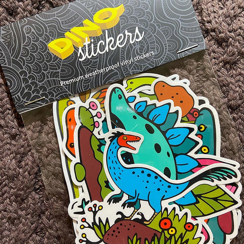Dino Stickers - Pack of 5 Weatherproof Vinyl Stickers
