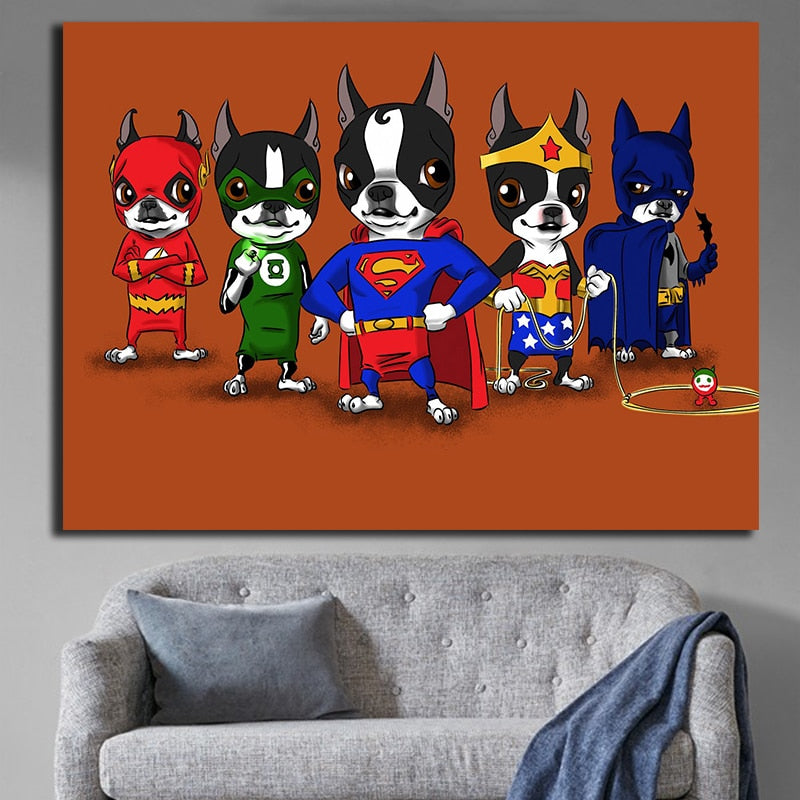 Boston Terrier Superheroes Wall Art