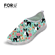 FORUDESIGNS 2019 Summer Sneakers Women Shoes Boston Terrier Print Casual Mesh Breathable Outdoor Slip on zapatillas mujer New