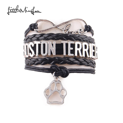 Infinity Love Boston Terrier Paw charm bracelet - 4 colours!