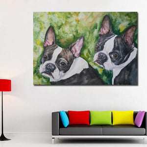 Two Boston Terriers Wall Art