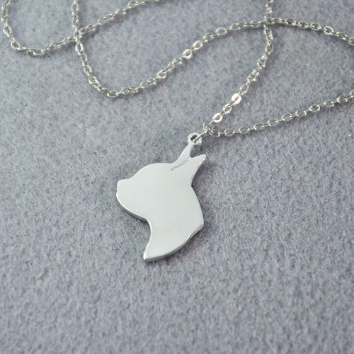 Boston Terrier Head Pendant Necklace