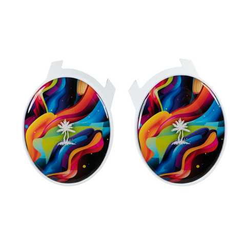 Rainbow Waves Elite Speaker Plates - White