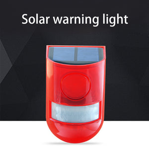 Solar Powered Motion Sensor Light Detector Strobe Alarm System Waterproof Outdoor Lamp 110dB Loud For Home Yard Outdoor Security