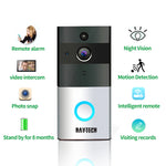 DAYTECH Wireless WiFi Video Doorbell 1.0MP Doorbell Camera Night Vision Two-way Audio Battery Operation Waterproof +Indoor Chime