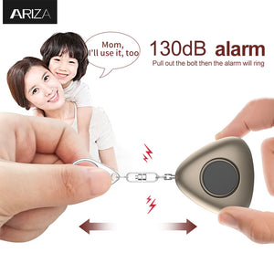 Ariza 130db personal alarm keychain portable emergency keychain alarm safety alarm with LED light for women/kids/elderly