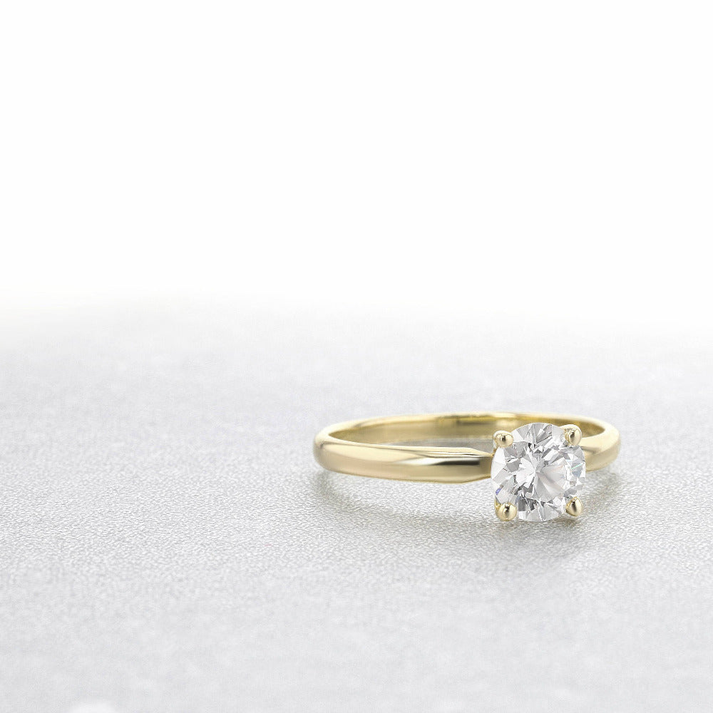 14K Yellow Gold Round Brilliant Cut 0.5ct Moissanite 4 Prong Ring Solarite Lab Diamond Engagement Promising Ring For Women