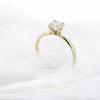 Image of 14K Yellow Gold Round Brilliant Cut 0.5ct Moissanite 4 Prong Ring Solarite Lab Diamond Engagement Promising Ring For Women