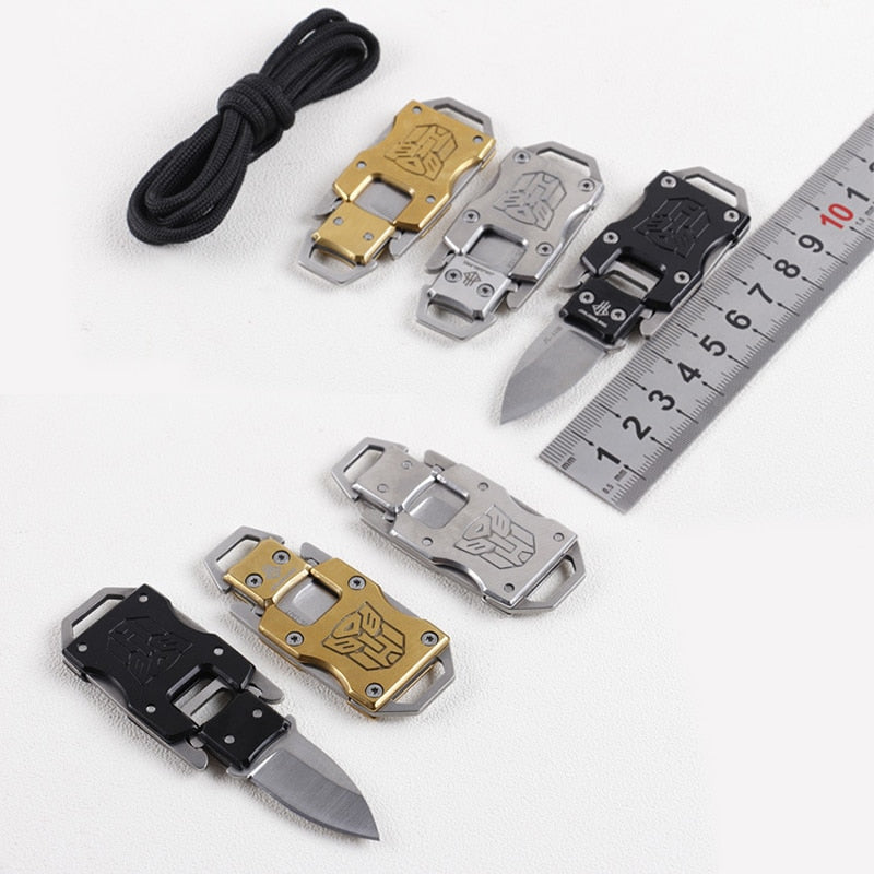 EDC Multi Functional--Survival Knife Mini Key Ring, Portable Cutter Camping Blade