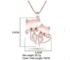Bonsny Cat Necklace Long Pendant Chain Zinc Alloy Girl Women Fashion Jewelry Statement Accessories
