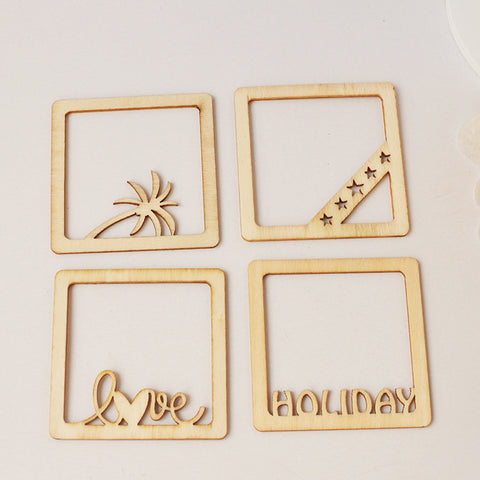 4 PCS Coconut Tree Wooden Photo Frame