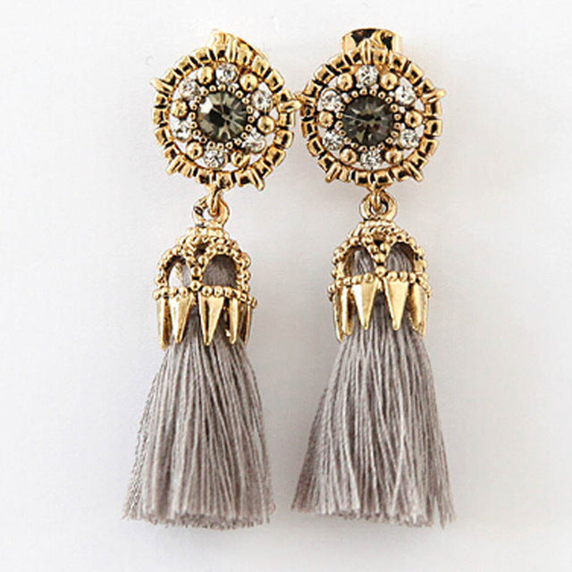 Long Drop Tassel Earrings