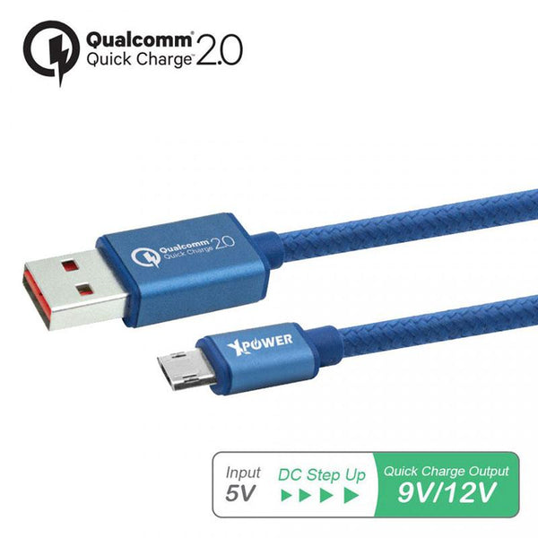 XPower 1.2m Built-in Quick Charge 2.0 Micro USB Cable