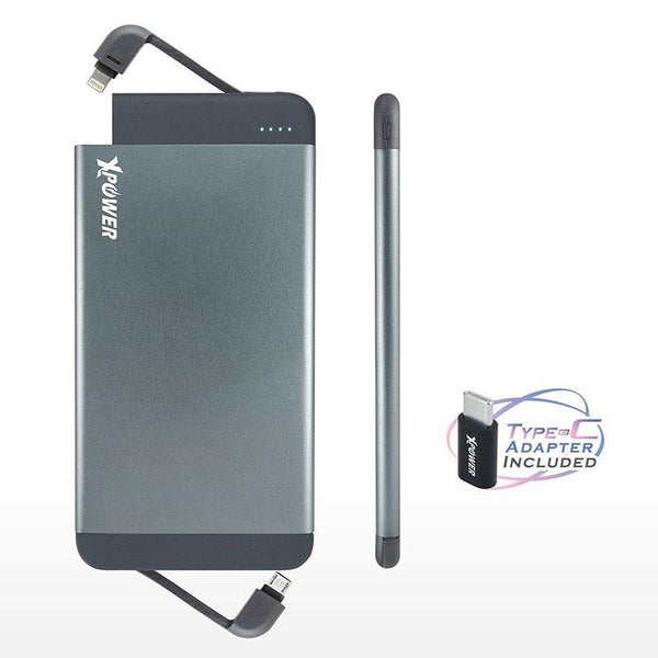 XPower PB7Q 7000mAh Qualcomm Quick Charge 3.0 Built-in MFI Lightning & Micro USB Cable Power Bank (Included Type-C Adapter)