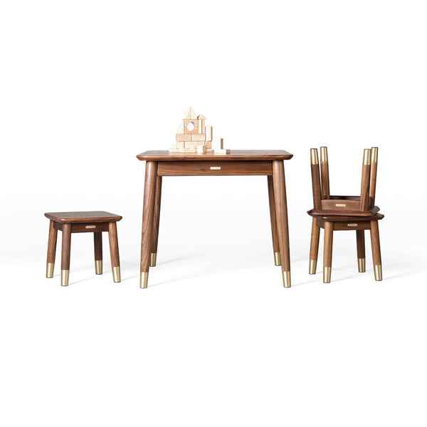 TongShiFu Black Walnut Table and Stool