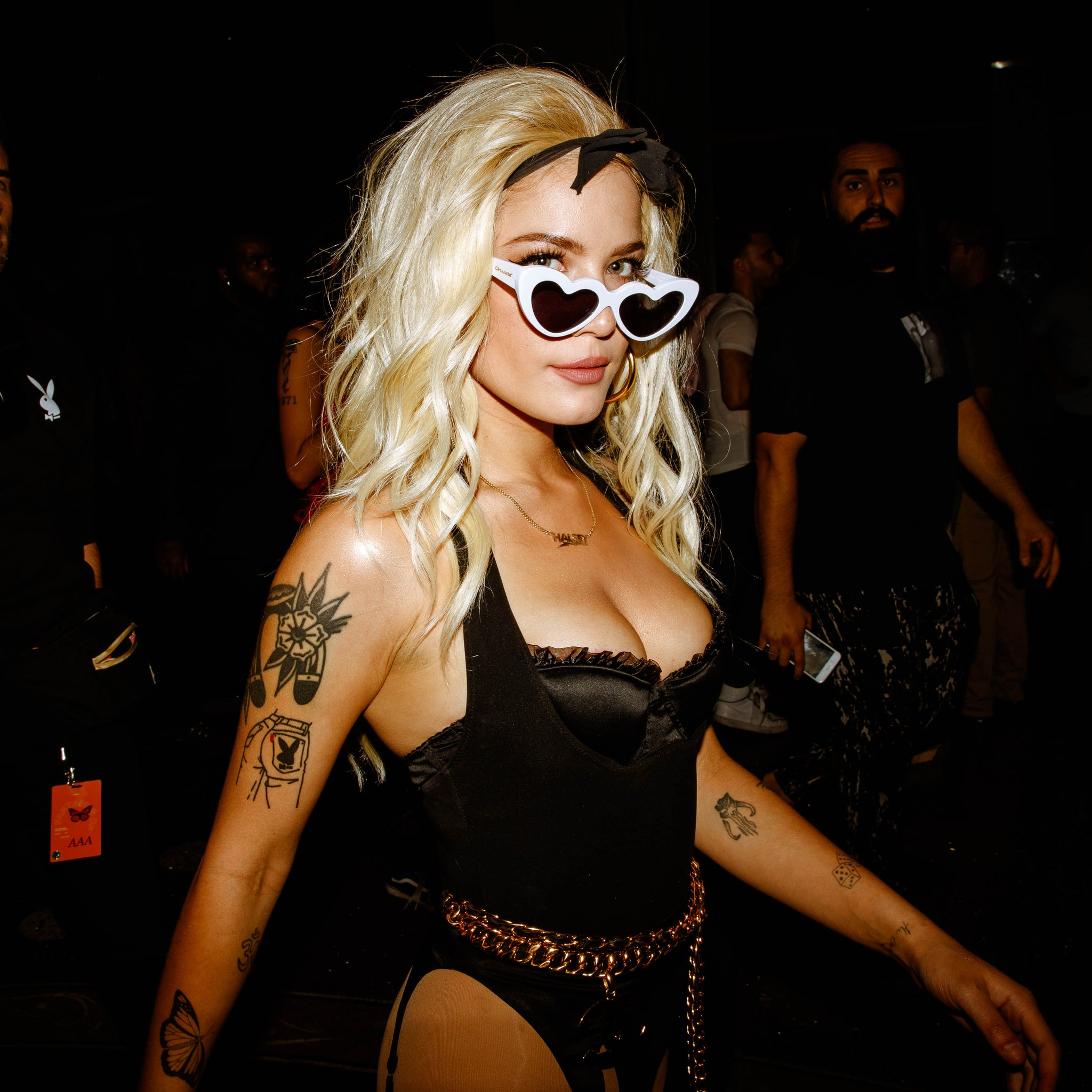 Halsey wearing AKILA GOSSIP heart-shaped sunglasses