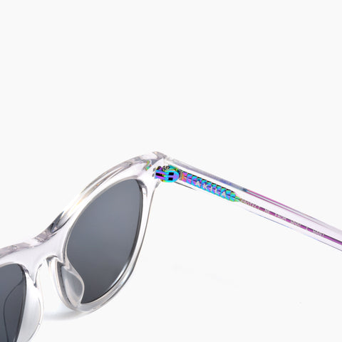 Akila Eyewear Studio Eclipse Sunglasses in Clear Iridescent / Black
