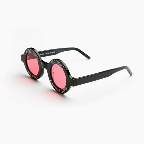 Akila Eyewear x Chinatown Market Have A Nice Day Sunglasses in Black / Red