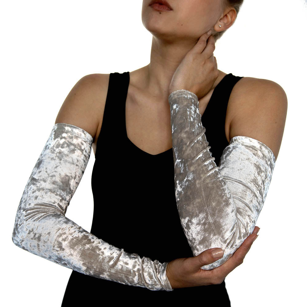 Off White Crushed Velvet Arm Sleeves