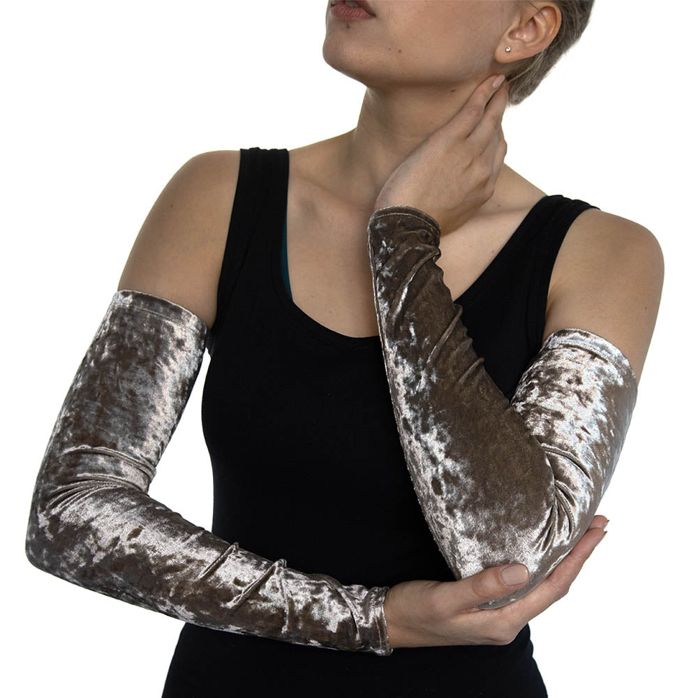 Chestnut Crushed Velvet Arm Sleeves