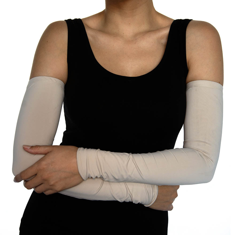 Beige Jersey Arm Sleeves