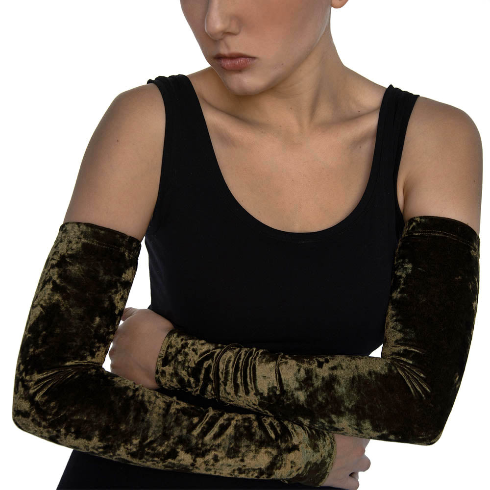 Olive Green Crushed Velvet Arm Sleeves