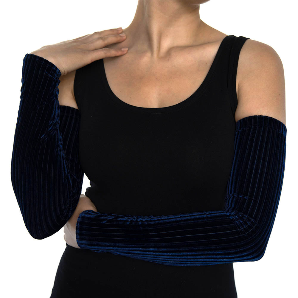 Navy Blue Ribbed Velvet Arm Sleeves