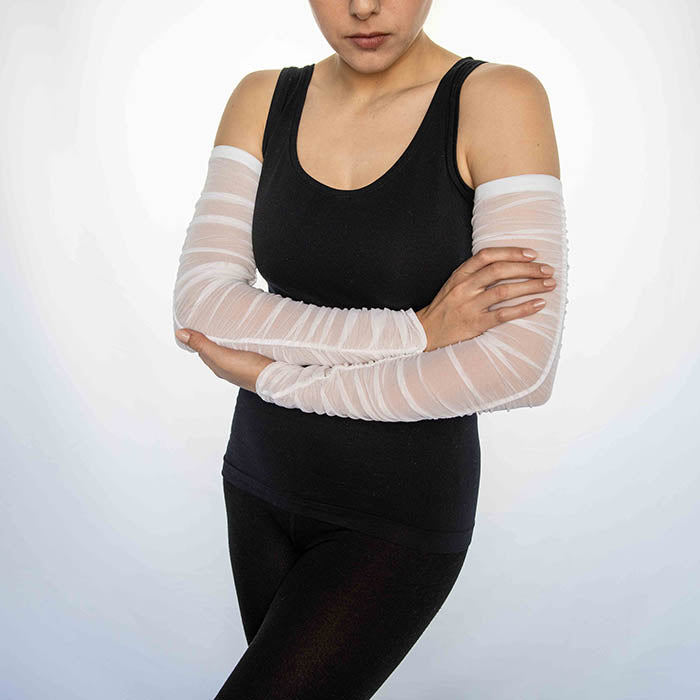 Mesh Rouche White Arm Sleeves