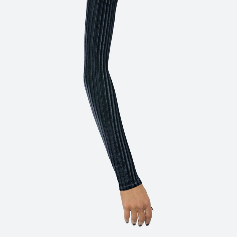 Ribbed Velvet Black Arm Sleeves