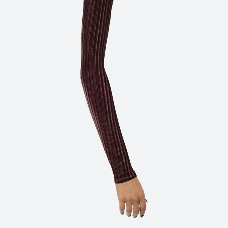 Ribbed Velvet Chocolate Arm Sleeves