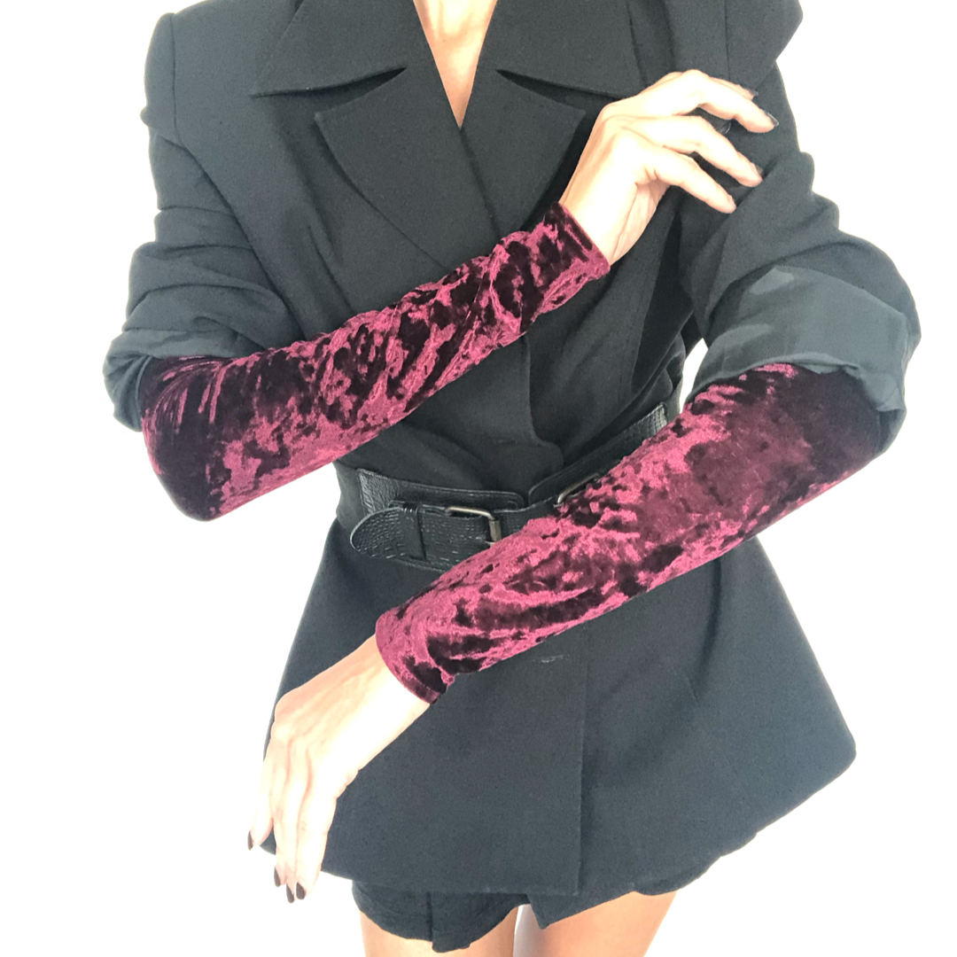 Crushed Velvet Red Arm Sleeves on model