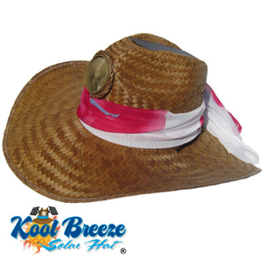 "Lady's Gentlemen ""Brown"" Solar Straw Hat w. Scarf"