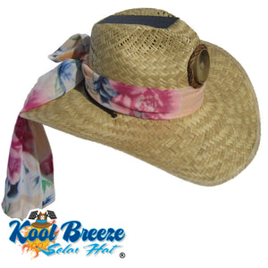 "Lady's Gentlemen ""Natural"" Solar Straw Hat w. Scarf"