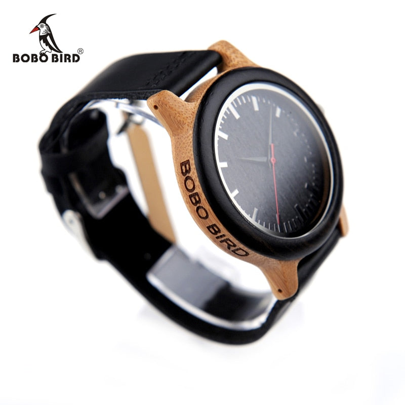 Luxury Watch Bamboo with Black Leather Strap - Quartz Wrist Watches