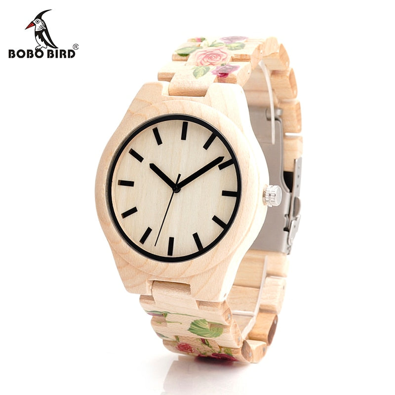 Maple Wood Wristwatch - Rose Flower Print in Gift Box