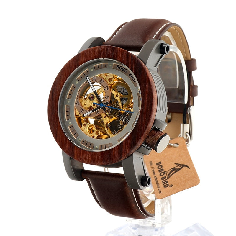 Luxury Mechanical Watch, Classic Style Men Bamboo Wooden With Steel in Wooden Gift Box