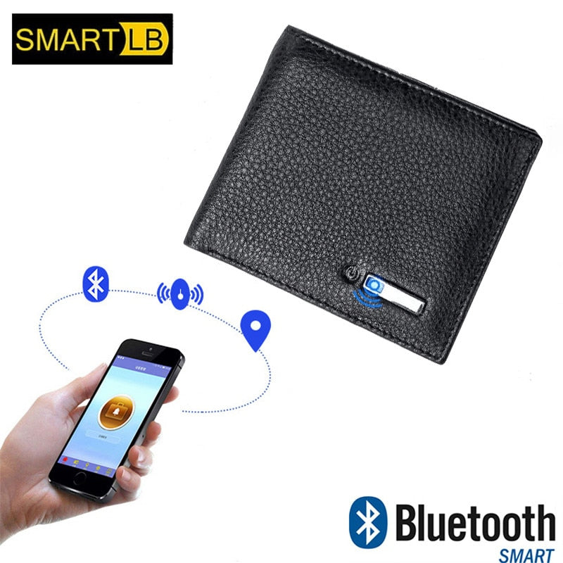 SMARTLB Wallet Finder Smart Tracker GPS Men PU Leather Rechargeable Card Holder - for IOS & Android