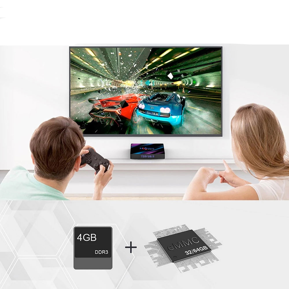 Mini Smart TV Box H96 MAX Android 9.0 - Media Player 4K Google Voice Assistant