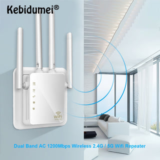 WiFi Signal Booster Wireless WiFI Repeater Network Range Extender 1200Mbps