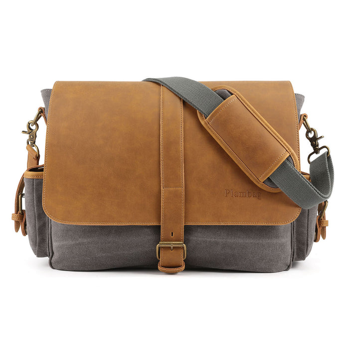 Plambag Large PU Canvas Messenger bag 16.5 Inch Laptop Shoulder Bag